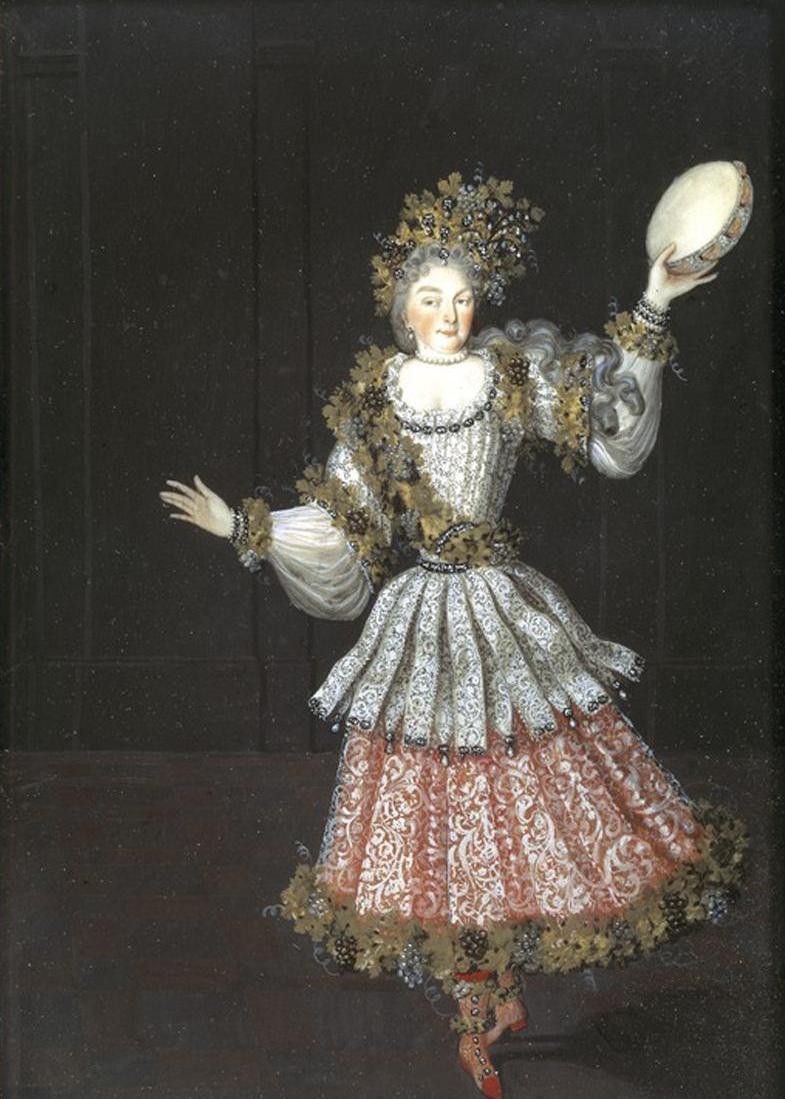 Sibylla Augusta kostümiert als Bacchantin, Gemälde in Schloss Favorite; Foto: Staatliche Schlösser und Gärten Baden-Württemberg, Steffen Hauswirth