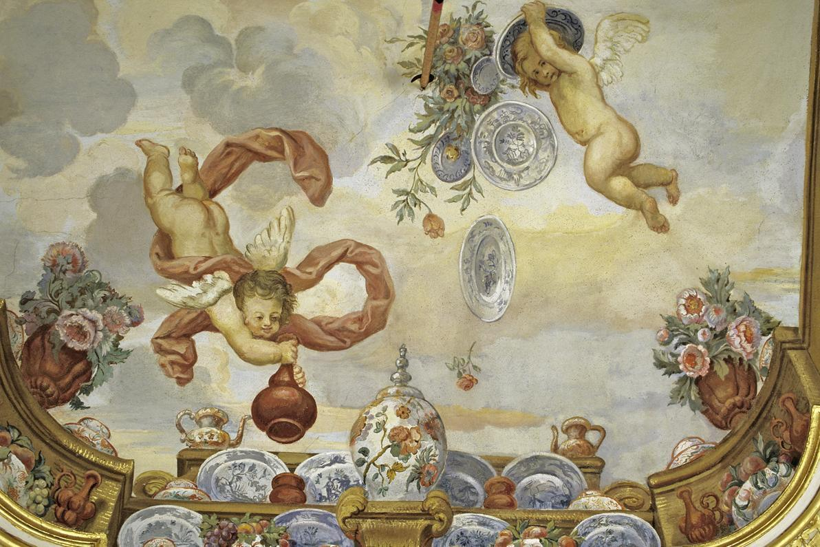 Detail of the ceiling painting in the Flower Room, Rastatt Favorite Palace. Image: Staatliche Schlösser und Gärten Baden-Württemberg, credit unknown