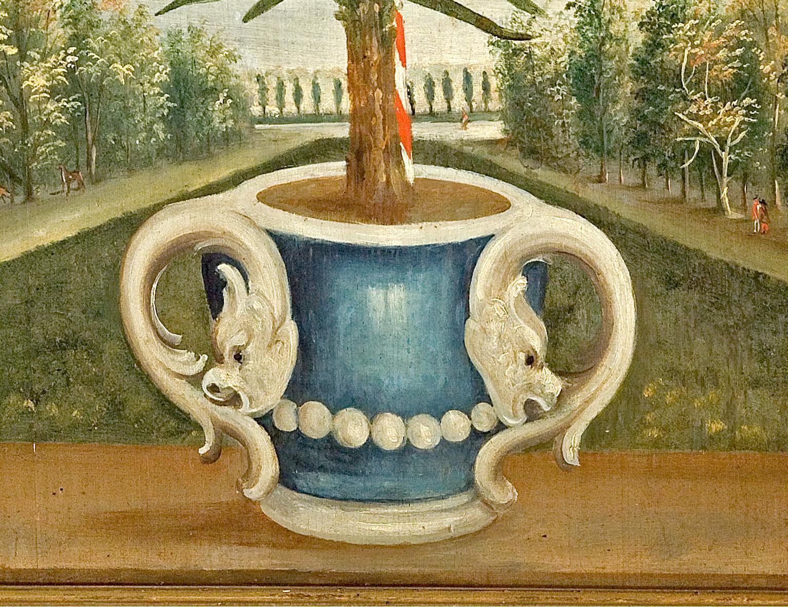 Pflanzenkübel, Lambrisbild im Rittersaal von Schloss Weikersheim; Foto: Staatliche Schlösser und Gärten Baden-Württemberg, Arnim Weischer