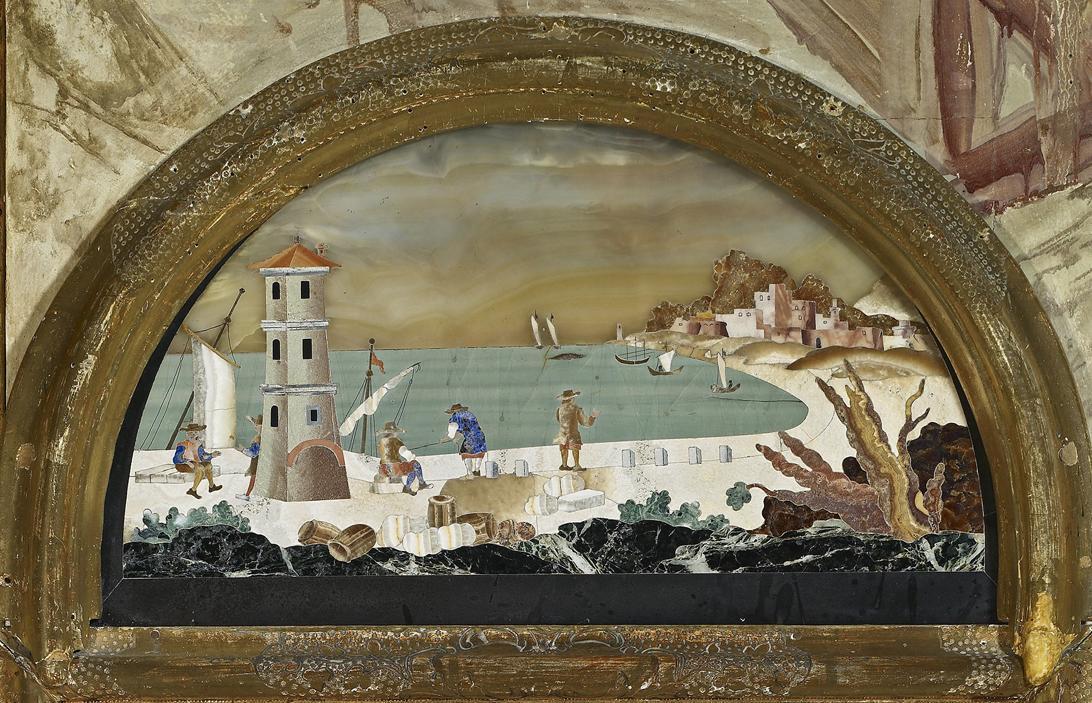 Pietra dura panel in the Florentine cabinet, Rastatt Favorite Palace. Image: Staatliche Schlösser und Gärten Baden-Württemberg, Andrea Rachele