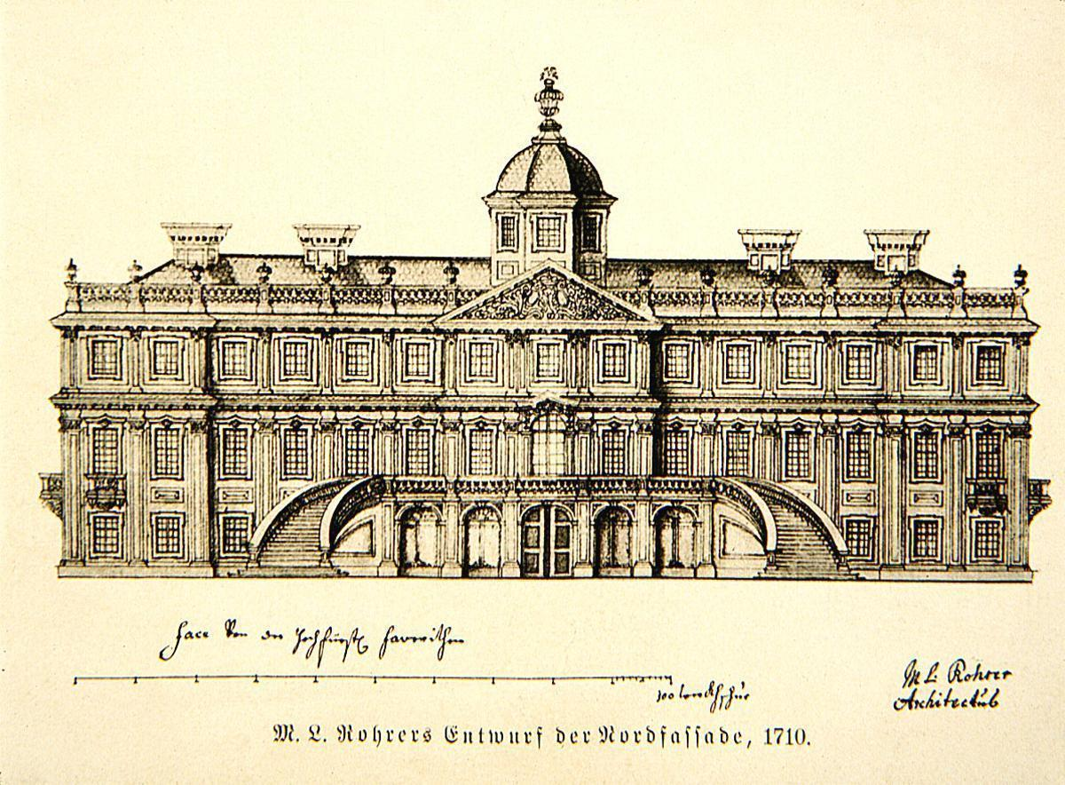 Federzeichnung der Fassade von Schloss Favorite von Michael Ludwig Rohrer