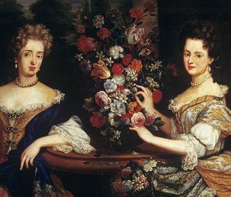 Porträt der Markgräfin Sibylla Augusta von Baden-Baden und ihrer Schwester Anna Maria Franziska