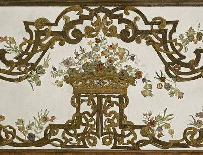 Detail aus dem Eckzimmer in Schloss Favorite Rastatt