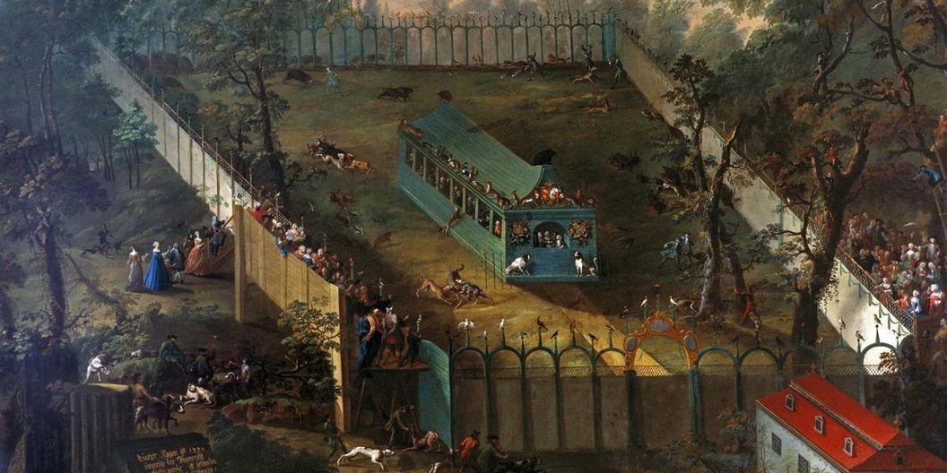 Gemälde einer Jagd von 1738 in Schloss Favorite Rastatt; Foto: Staatliche Schlösser und Gärten Baden-Württemberg, Steffen Hauswirth