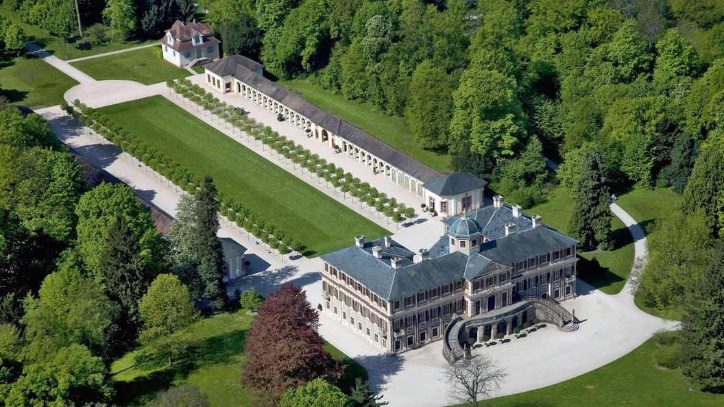 Château de la Favorite de Rastatt, Vue aérienne du château