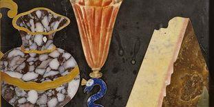 Ausschnitt aus einer Pietra-Dura-Tafel im Florentiner Kabinett von Schloss Favorite Rastatt
