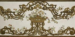 Detail der Wandgestaltung des Blumenzimmers in Schloss Favorite Rastatt
