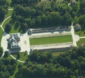 Aerial view of Rastatt Favorite Palace and palace garden. Image: Landesmedienzentrum Baden-Württemberg, Arnim Weischer