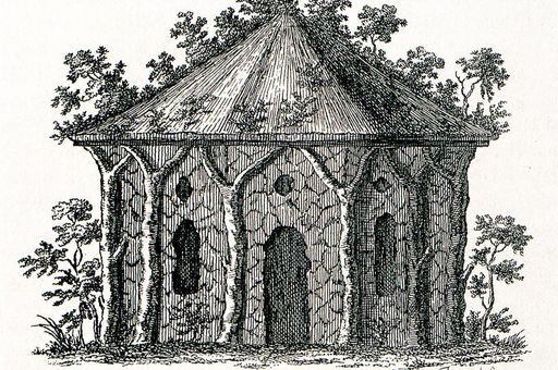 Image: The hermitage architectural style in a drawing by Christian Hirschfeld, 1779