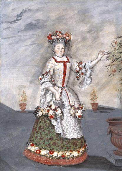 Sibylla Augusta kostümiert als Gärtnerin, Gemälde in Schloss Favorite
