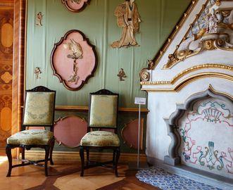 Grünes Schlafzimmer in Schloss Favorite Rastatt; Foto: Staatliche Schlösser und Gärten Baden-Württemberg, Ortsverwaltung Rastatt