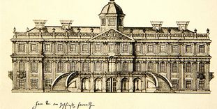 Pen and ink drawing of the Favorite Palace facade, by Michael Ludwig Rohrer.