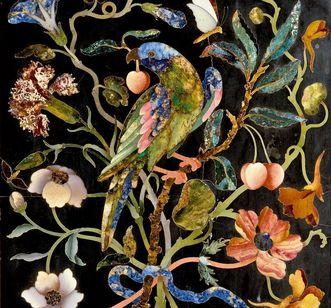 Parrot in the Florentine cabinet, Rastatt Favorite Palace. Image: Staatliche Schlösser und Gärten Baden-Württemberg, Arnim Weischer