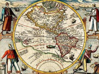 Karte von Amerika, Theodor de Bry, 1596.