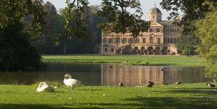 Schloss Favorite Rastatt mit Schwänen und Enten