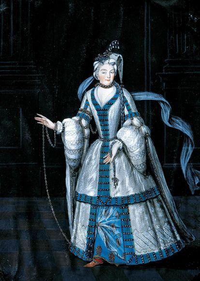 Sibylla Augusta kostümiert als Sklavin, Gemälde in Schloss Favorite