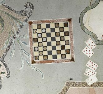 Playing cards in the scagliola floor of the Florentine cabinet, Favorite Palace. Image: Staatliche Schlösser und Gärten Baden-Württemberg, Arnim Weischer