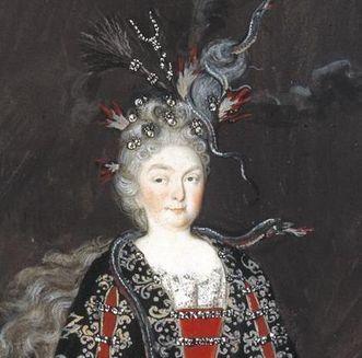 Kostümbild der Markgräfin Sibylla Augusta als Magierin in Schloss Favorite Rastatt