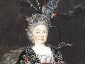 Portrait en costume de la margrave SibyllaAugusta en tenue de magicienne au château de la Favorite de Rastatt