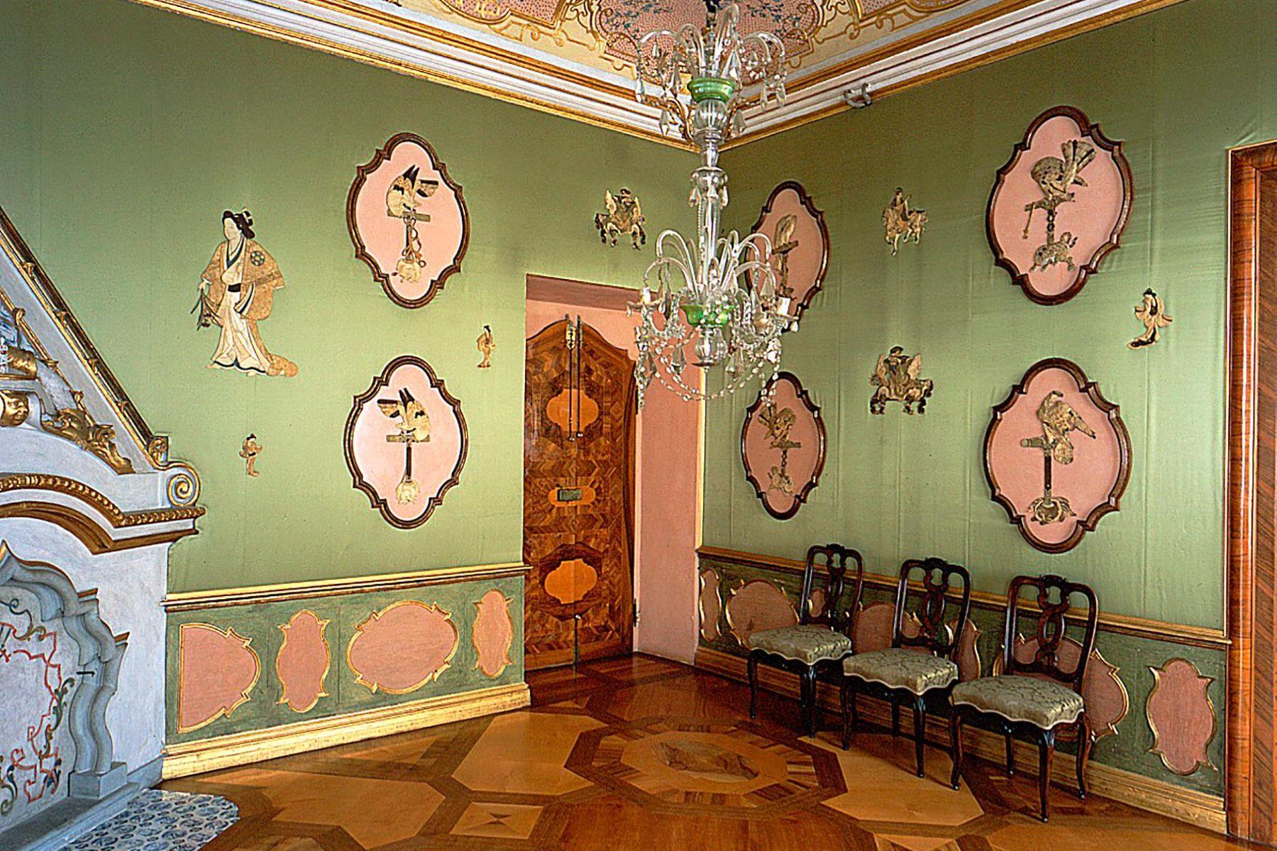 Schloss Favorite Rastatt, Grünes Schlafzimmer