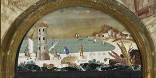 Ansicht einer Pietra-Dura-Tafel im Florentiner Kabinett in Schloss Favorite Rastatt